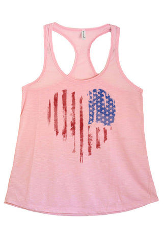 Women's American Flag Heart Faded Graphic Print Polyester Tank Tops for Regular and PLUS - Small ~ 3XL