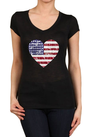 Women's Regular American Flag Heart Distressed Graphic Print V-Neck Polyester Short Sleeve Shirts