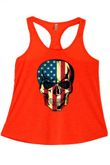 Women's American Flag Skull Graphic Print Polyester Tank Tops for Regular and PLUS - Small ~ 3XL