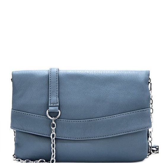 Designer Inspired Fashion Silver Chain Strap Evening Bag