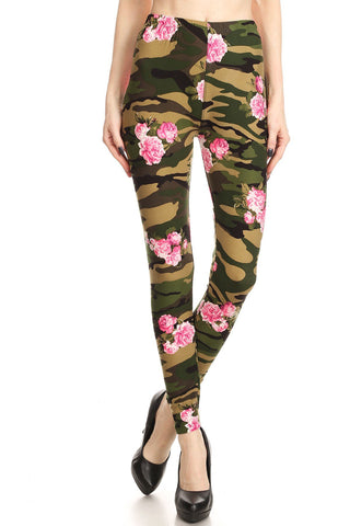 Women's Regular Camo Three Petal Floral Pattern Printed Leggings