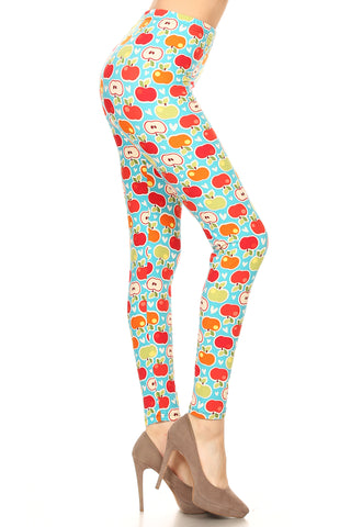 Women's PLUS Apple Pattern Printed Leggings - Red Orange Green