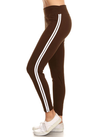 Womens High Waist Solid White Stripe Yoga Work Out Pants Leggings for Regular and Plus