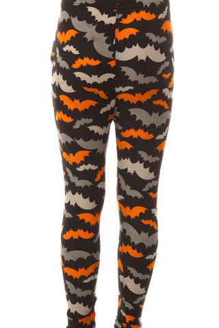 Kid's Halloween Colorful Bat Pattern Printed Leggings