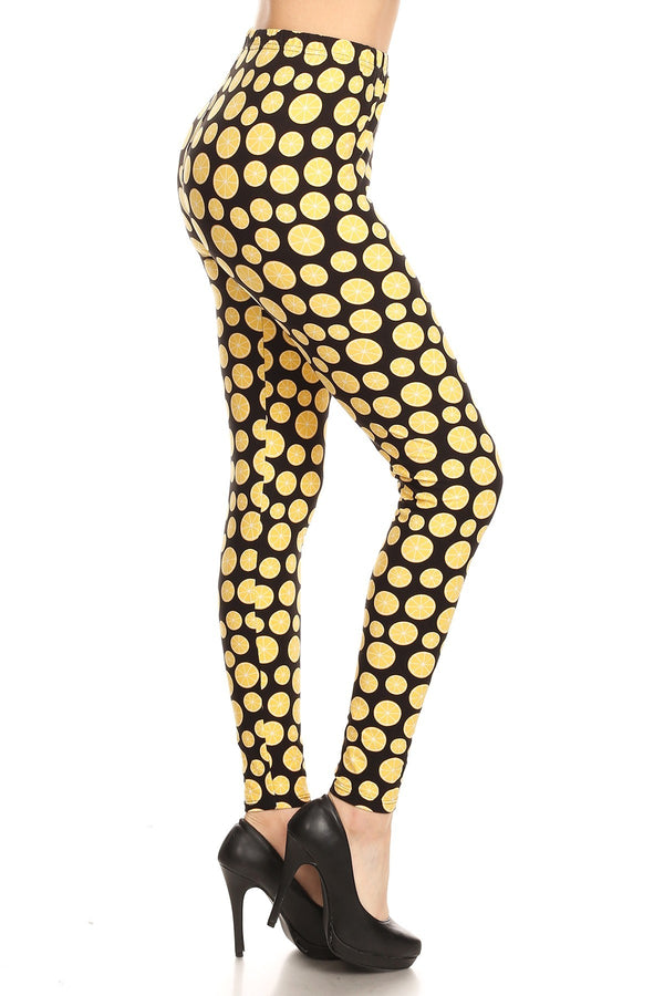 Women's Regular Lemon Fruit Pattern Printed Leggings