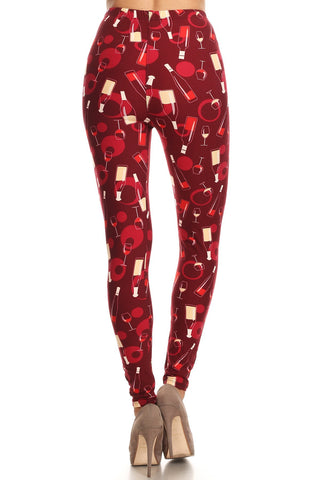 Women's 3 X 5X Wine Glass and Bottle Pattern Printed Leggings