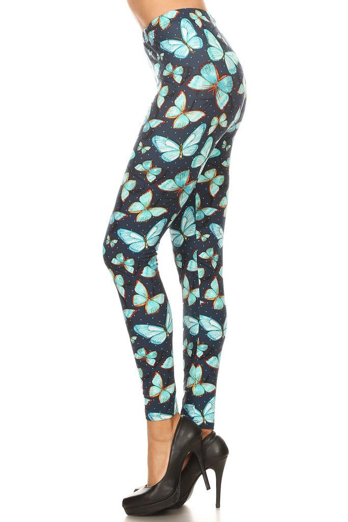 Women's Plus Butterfly Dot Outline Pattern Printed Leggings