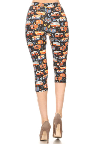 Women's Regular colorful Campervan RV Printed Cropped Capri Leggings