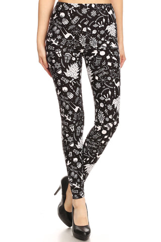 Women's Plus Litho Merry Christmas Pattern Printed Leggings