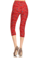Women's Regular colorful Anchor Compass Printed Cropped Capri Leggings