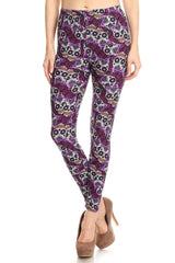Women's Regular Purple Sugar Skull Ribbon Pattern Printed Leggings