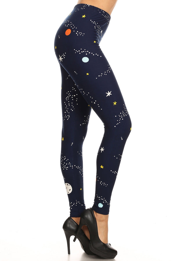 Women's Plus Colorful Planet Space Pattern Printed Leggings