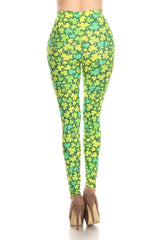Women's 3 X 5X Green Shamrock Pattern Printed Leggings