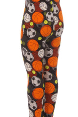 Kid's Colorful Sports Theme Pattern Printed Leggings