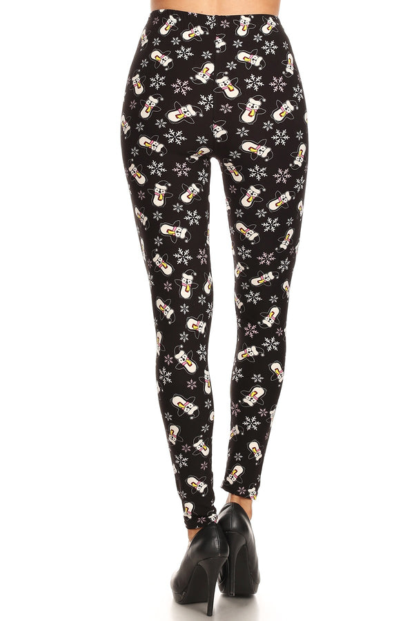 Women's Regular Penguin Snowman Snowflake Pattern Printed Leggings