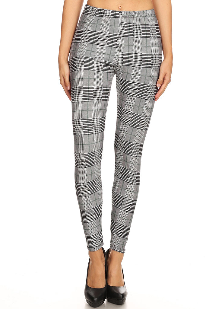 Women's Regular Grey Plaid Pattern Printed Leggings