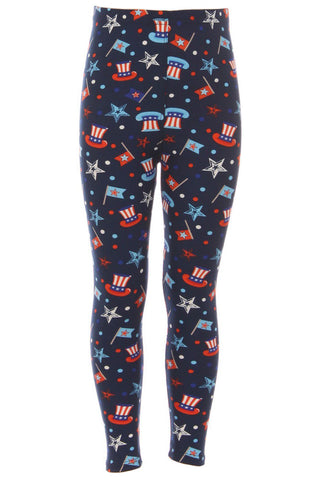 Kid's Colorful American Spirit Pattern Printed Leggings