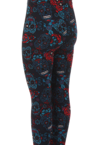 Kid's Navy Sugar Skulls Pattern Printed Leggings