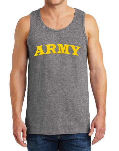 Men's Army with Yellow Text Heavy Cotton Tank Tops – XS ~ 3XL
