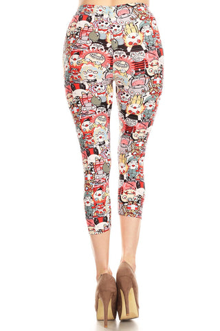 Women's Plus Colorful Monster Cartoon Printed Cropped Capri Leggings
