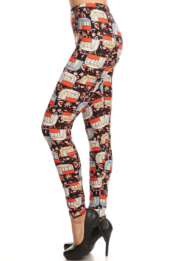 Women's 3X 5X Trailer Home Camping Pattern Printed Leggings