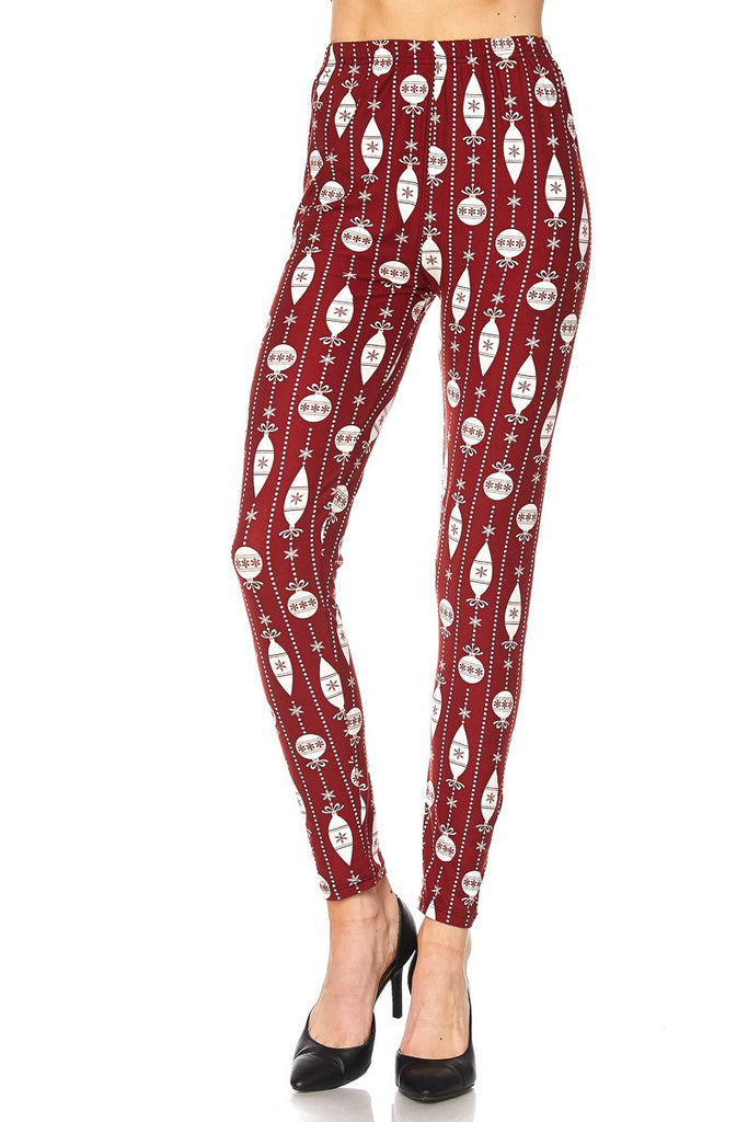 Women's Plus Red White Christmas Bell Deco Pattern Printed Leggings