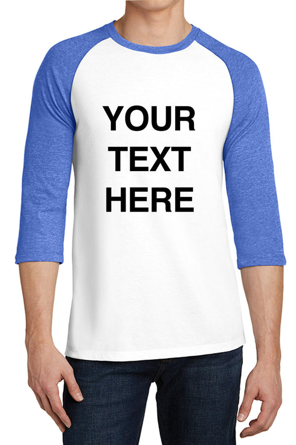 Create Your Own Text – Young Mens 3/4-Sleeve Raglan Fitted Baseball Tees -XS~4XL