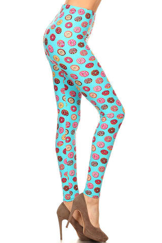 Women's Plus Donuts Yum Yum Pattern Printed Leggings