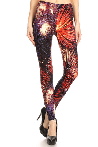 Women's Regular colorful Fireworks Pattern Printed Leggings - Red Purple