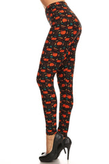 Women's Plus Happy Thanksgiving Pumpkin Pattern Printed Leggings