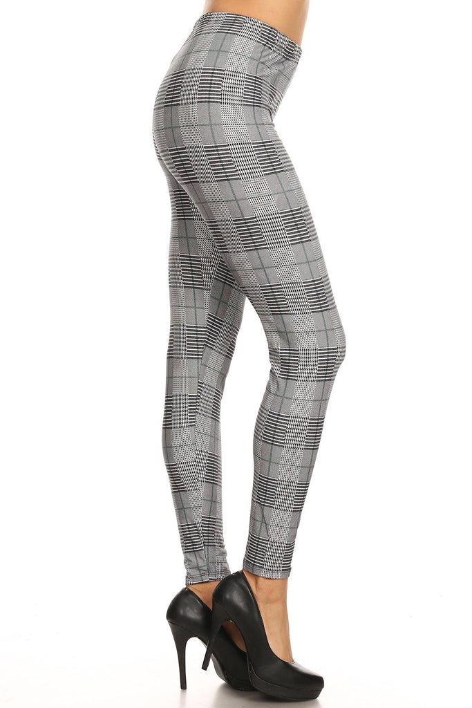 Women's Plus Grey Plaid Pattern Printed Leggings