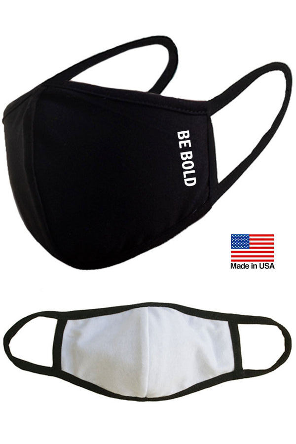 Be Bold Reusable Washable Cotton Face Masks - Made in USA