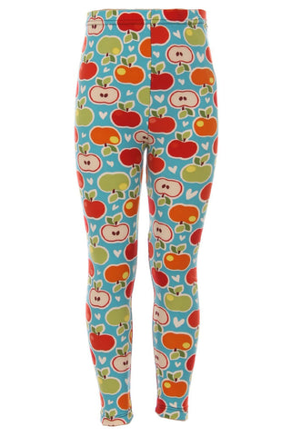 Girl's Apple Red Orange Green Pattern Printed Leggings