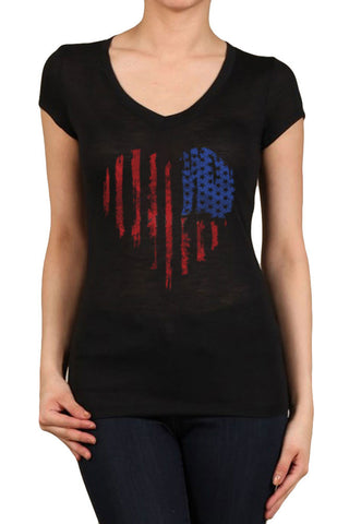Women's Regular American Flag Heart Faded Graphic Print V-Neck Polyester Short Sleeve Shirts