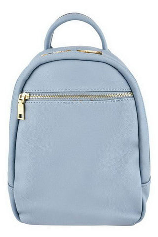 Women's Designer Inspired Fashion Leather Zipper Top Closure Mini Backpack