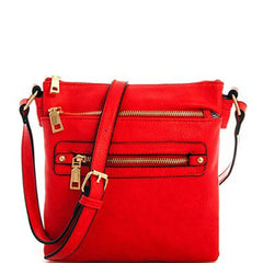 Designer Inspired Fashion Leather Front & Top Zipper Crossbody Bags