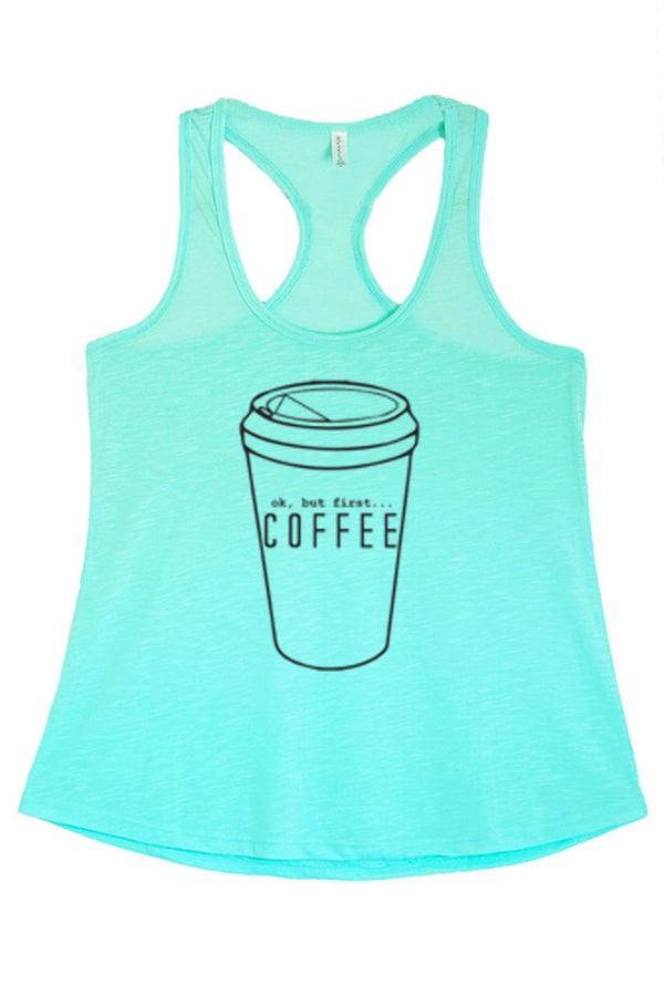 Women's But First Coffee Graphic Print Polyester Tank Tops for Regular and PLUS - Small ~ 3XL