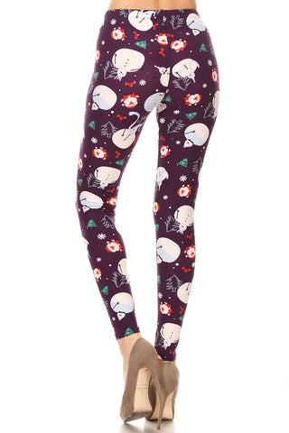 Women's Regular Santa Claus Snowman Pattern Printed Leggings