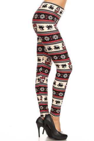Women's Plus Colorful Santa Reindeer Fair Isle Pattern Printed Leggings