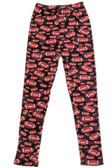 Girl's Rugby Ball Pattern Printed Leggings for Football Season