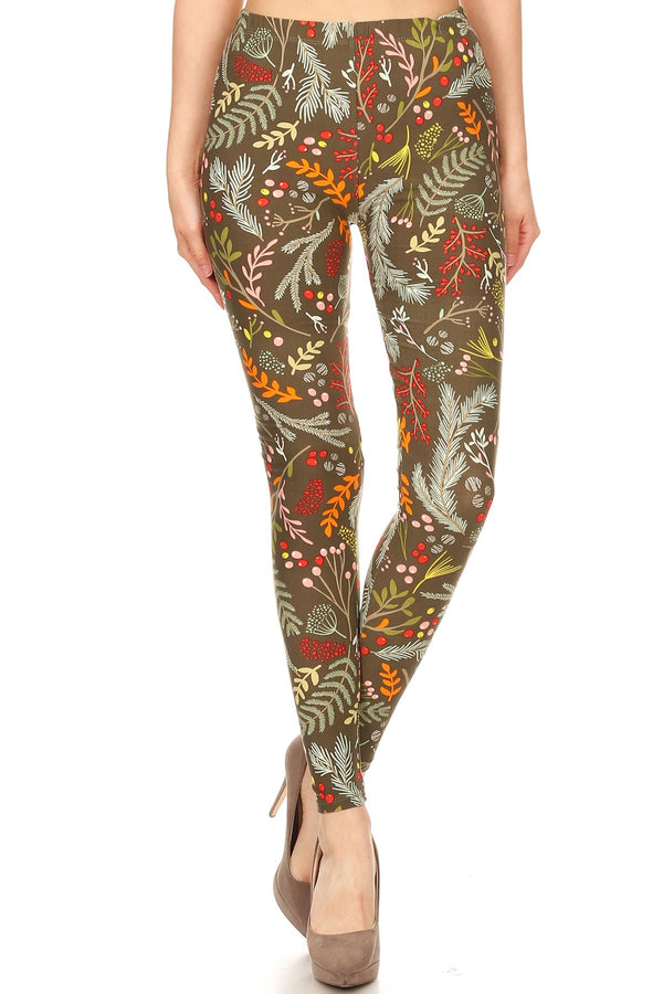 Women's Regular Foliage Autumn Leaf Harvest Pattern Printed Leggings
