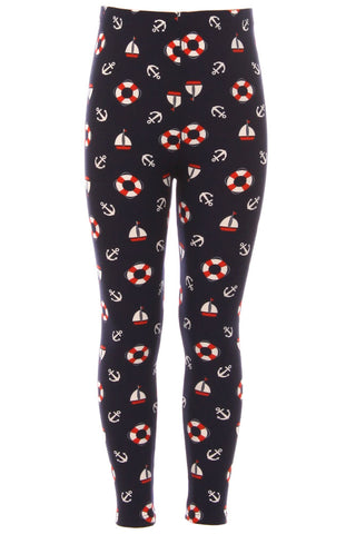 Kid's Life Ring Anchor Yacht Pattern Printed Leggings