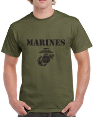 Men's Marines with Grenade Symbol Graphic Print Heavy Cotton Classic Fit Round Neck Short Sleeve T-Shirts – S ~ 3XL