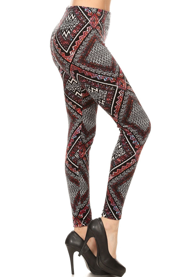 Women's Regular Diamond Chevron Pattern Velvet High Waisted Leggings