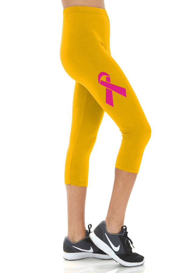 Women's Breast Cancer Ribbon Printed Buttery Soft Peach Skin Cropped Capri Leggings - Regular Plus and 3X5X