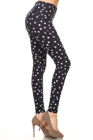 Women's Plus White Little Stars Pattern Printed Leggings
