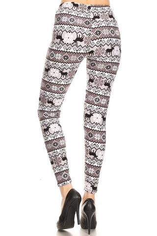 Women's Regular B&W Reindeer Fair Isle Pattern Printed Leggings