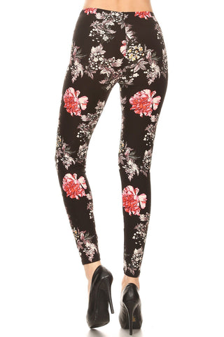 Women's Regular Red Big Yellow Small Flower Pattern Printed Leggings