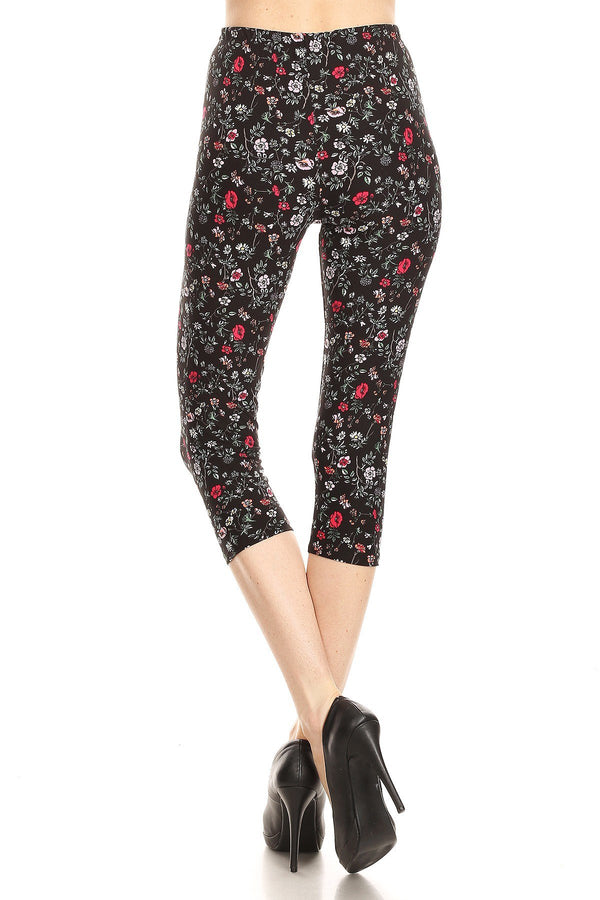 iZZYZX Women's Plus colorful Little Flower Printed Cropped Capri Leggings