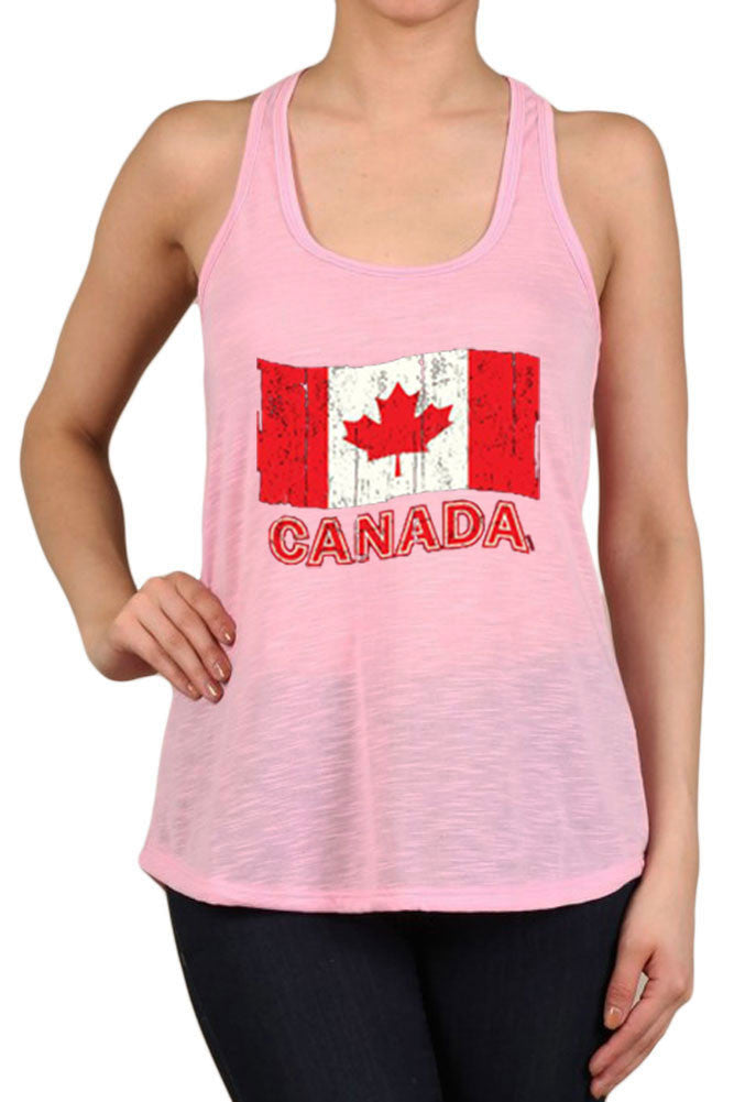 Women's Canada Flag Faded Graphic Print Polyester Tank Tops for Regular and PLUS - Small ~ 3XL